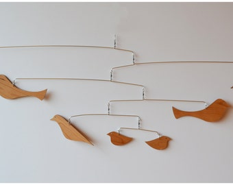 Free Shipping on Solid Cherry Danish Modern inspired Bird Mobile.
