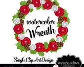 Water Color  Wreath- Holiday Christmas Single  Digital Clipart Elements Commercial use Instant Download