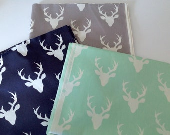 Fitted Crib Sheet and Matching Changing Pad Cover in Woodland Navy, Gray or Mint Buck Forest Deer Fabric - Ready to Ship