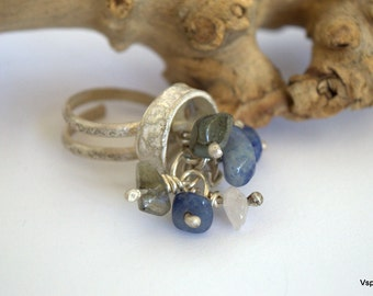Rustic silver ring blue gemstone adjustable OOAK handmade artisan jewelry  Eco friendly sustainable