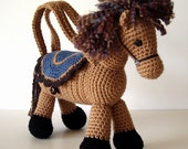 Brown and Tan Pony Crochet Purse Tote with Blue Saddle for Young Girls