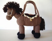 Pony Horse Purse Crochet Tan Brown with Dark Brown Mane Tail for Girls