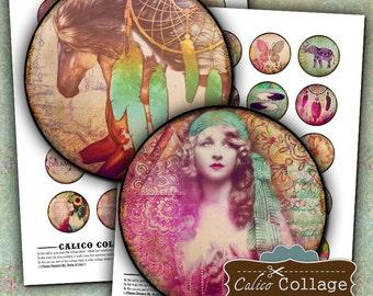 Boho Chic Digital Collage Sheets  - 1.5 inch Circles - Round Boho Images - Printable Download - For Pendants Bezel Cabochons - Digital Sheet