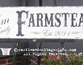 Custom Family sign Vintage Farmstead farmhouse original design handpainted 9x36
