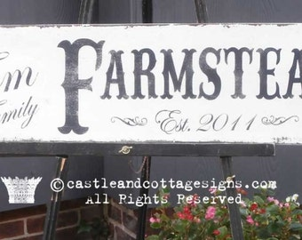 Custom Family sign Vintage Farmstead farmhouse original design handpainted 9x36