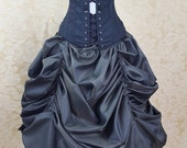 Clearance Dark Green Black Shot Steampunk Super Full Midi Length All Around Bustle Skirt-One Size Fits All