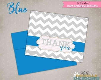 Chevron Wedding Thank You Cards, Modern Bridal Shower Folding Thank You Notes, Custom Colors with Matching Envelopes