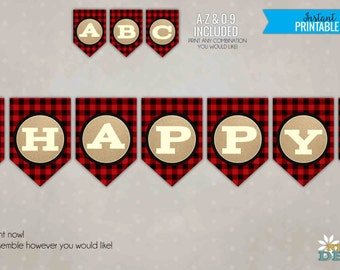 Custom Lumberjack Banner, DIY Rustic Red Buffalo Plaid Party Decoration, Flannel Printable Banner, All Letters #B124
