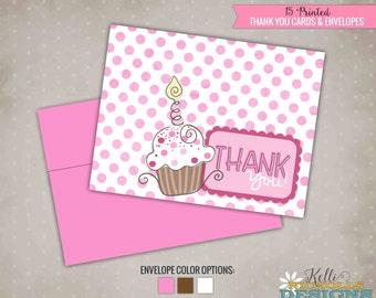 Pink Cupcake Birthday Thank You Cards, Pinkalicious Inspired Polka Dot Thank You Notes #B101