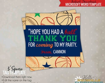 Vintage Sports Party Favor Tag Template, Sports Birthday, Instant Download #B108