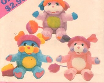 Butterick 4080 418 1980s Soft Popples Pattern Pancake Party P.C. Vintage Stuffed Animal Toy Sewing Pattern 16 Inches UNCUT