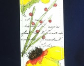 Watercolor Bookmark of sunflowers, berry bush and rocket flower
