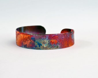 Etched Copper Cuff Bracelet - Owl design - slim size