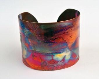 Etched Copper Cuff Bracelet - stag deer design - Large size