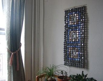 Three Squares - bottle cap tapestry