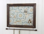 Jewelry Holder- Distressed Dark Brown Framed Jewelry Organizer- Upcycled 8x10 Picture Frame