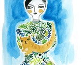 Woman And Cat Archival Giclee Print