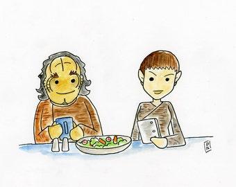 Dr Phlox and T'Pol - illustration inspired by Star Trek Enterprise - part of Star Trek Scribbles