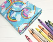 Crayon Wallet Children's Coloring toy Hip Trendy Toddler Travel - Unicorns and Rainbows