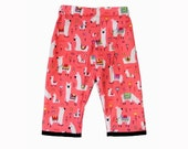 Llama Pants - Bohemian Clothing - Tribal Baby - Coral Pants - Peruvian - Toddler Pants - Girl Pants - Size 2T to 5T LAST Pair On SALE