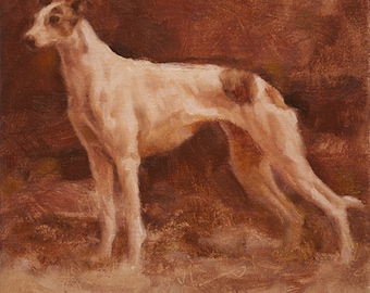 Framed Original Oil Painting, Greyhound