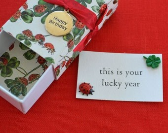 Lucky Year--Birthday Message Box/Gift Box with Good Luck Tokens and Fabric Gift Bag
