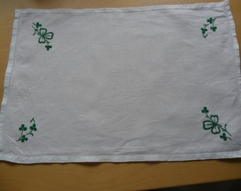 Vintage Clover Embroidered Tray Cloth