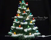 Winter Wonderland Ceramic Christmas Tree 19 inches with Music Box - Lights ARE Glued In