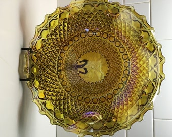 Vintage Indiana Glass Ruffled Bowl EUC Diamond Pattern