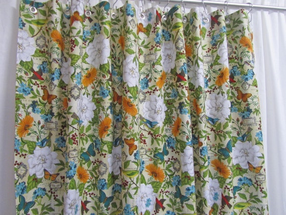 Cottage Style Shower Curtain Butterfly by asmushomeinteriors