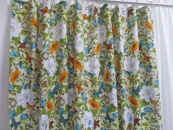 Cottage Style Shower Curtain, Butterfly Floral Shower Curtain, Shabby Chic, Script Shower Curtain, Bird Bathroom Decor, Custom Made