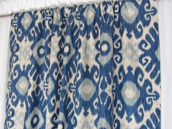 "Ikat Window Curtains, Modern Drapes, Trendy Designer Window Treatments, Indigo Blue Drapery Panels, Rod-Pocket Curtains, One Pair 50""W"