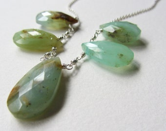 Five Stone Peruvian Opal Gemstone Necklace - Faceted Stones - Made in Seattle