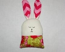 Bunny Plush PINK and LIME GREEN/ Stuffed Animal / Rabbit / Handmade Doll / Easter Decor