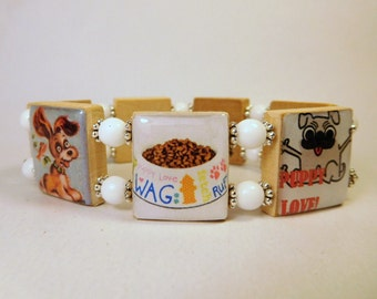 DOG LOVER Jewelry / SCRABBLE Bracelet / Pet Rescue / Mixed Breed / Fun