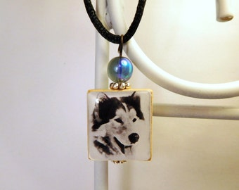 HUSKY Dog Jewelry / Scrabble Pendant / Necklace with Cord / Charm