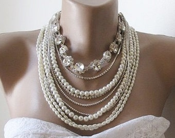 Chunky layered ivory glass pearl Bridal necklace, Handmade Wedding rhinestone chain,  Pearl and Rhinestone Necklace