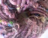 Handspun Corespun Art Yarn Super Bulky Soft Lincoln Longwool in Smoky Raspberry Pink by KnoxFarmFiber for Knitting Crochet Embellishment