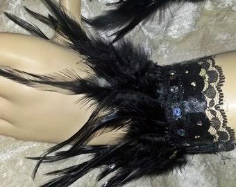 Pair Black Feather Wrist Cuffs Handmade