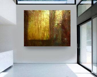 ORIGINAL abstract oil painting contemporary art amber brown gold free shipping Carol Lee aka Leearte