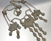 20% OFF Etruscan Art Deco Necklace, Silver Filigree Chain Statement Necklace, Vintage Art Deco Jewelry, Indo Craft Gothic Jewelry