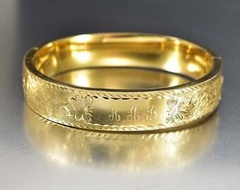Art Deco Bracelet Bangle, 12K Gold Filled Bracelet, Engraved Personalized, Vintage Art Deco Jewelry, HFB Antique Jewelry, Stacking Bracelet