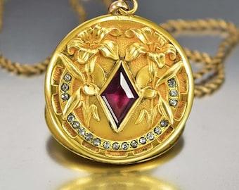 Antique Victorian Locket Necklace, Amethyst Paste Diamond Gold Filled Locket, Antique Jewelry, Photo Locket, Rhinestone Victorian Necklace