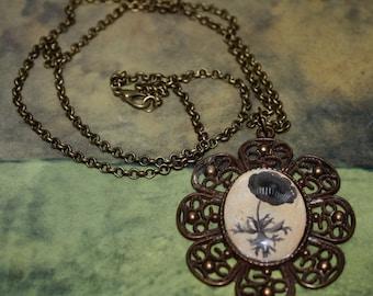 Black Rose Under Glass Cameo Necklace