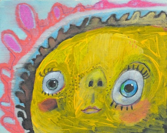 OOAK Yellow Face Painting on Panel