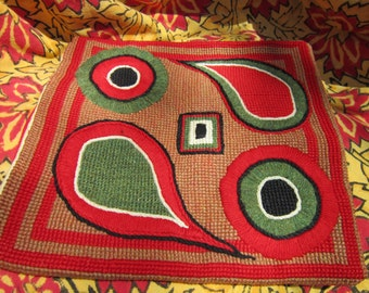 Vintage Needlepoint Paisley Pillow Cover Red, White, Green, Black Striking And Colorful