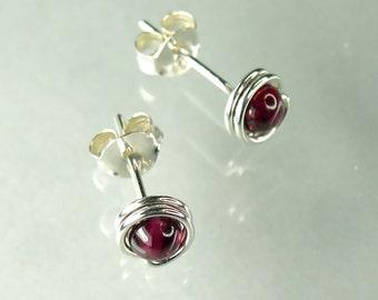 Tiny Garnet Sterling Silver Stud Earrings, Modern 3.5mm Gemstone Posts, January Birthstone / gift under 40