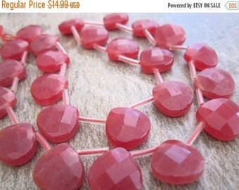 SALE Red Jade Beads Briolettes, Ruby Jade Beads, Faceted Briolettes, Luxe AAA, 14mm, Raspberry Pink, SKU 3405A