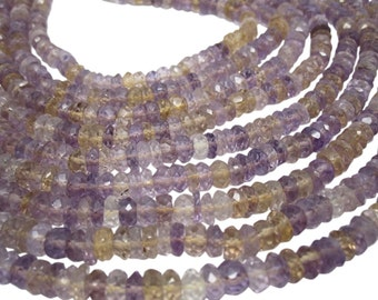 Ametrine Beads, Ametrine Rondelles, Luxe AAA, Mixture of Amethyst and Citrine, 3454