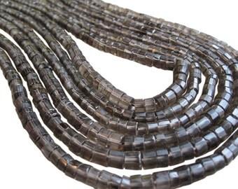Smokey Quartz Beads, Faceted Heishi, Smokey Quartz Heishi, SKU 3327